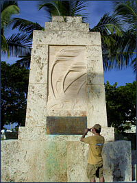 Michael Laca at the 1935 Hurricane Monument in the Florida Keys.